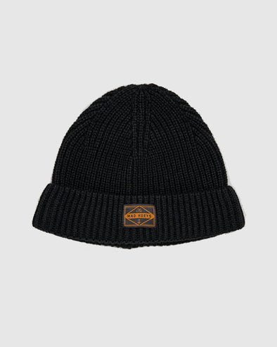 WHARFIE ROLL UP BEANIE - BLACK