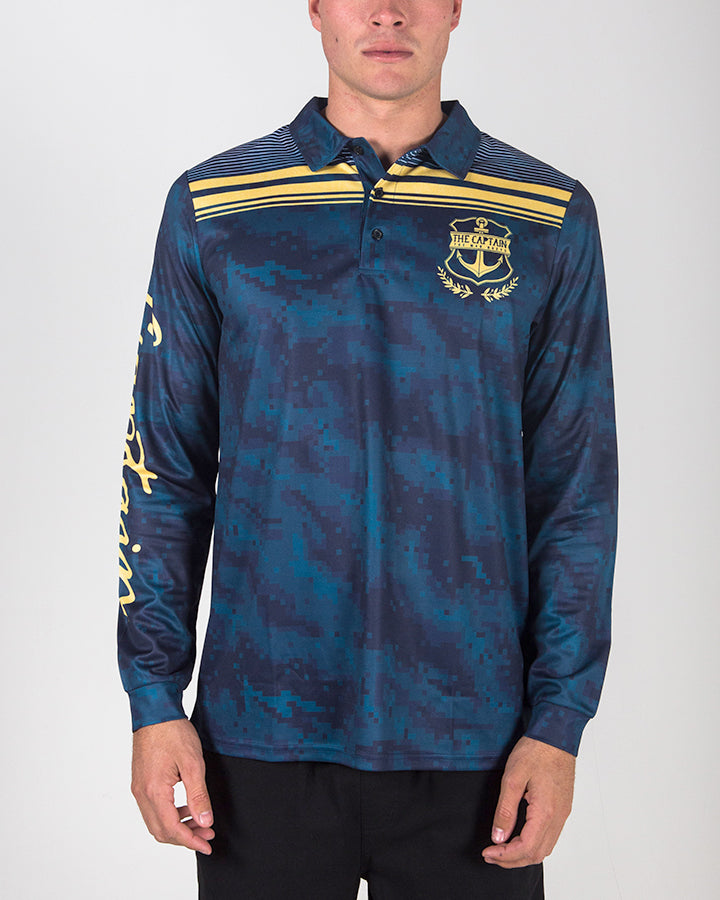 CAPTAIN UV LONG SLEEVE FISHING JERSEY - NAVY
