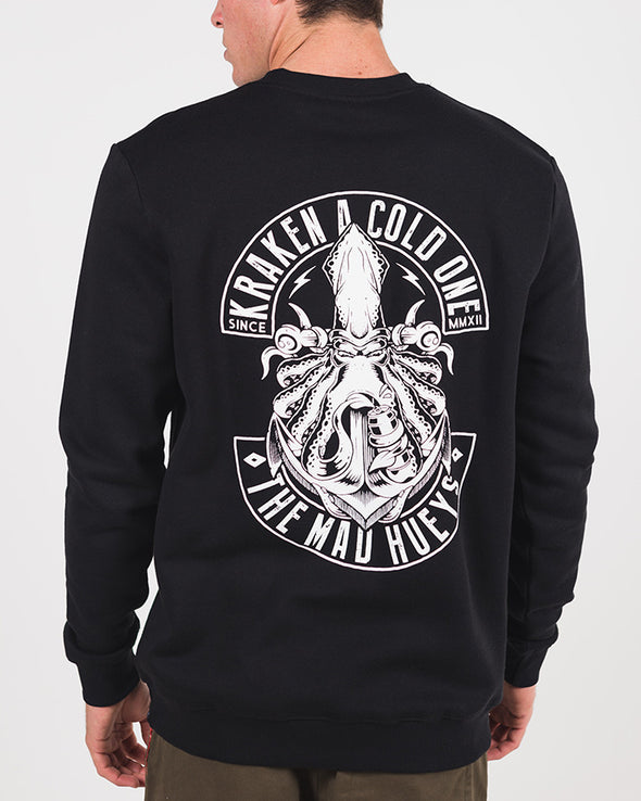 KRAKEN CREW SWEATER - BLACK