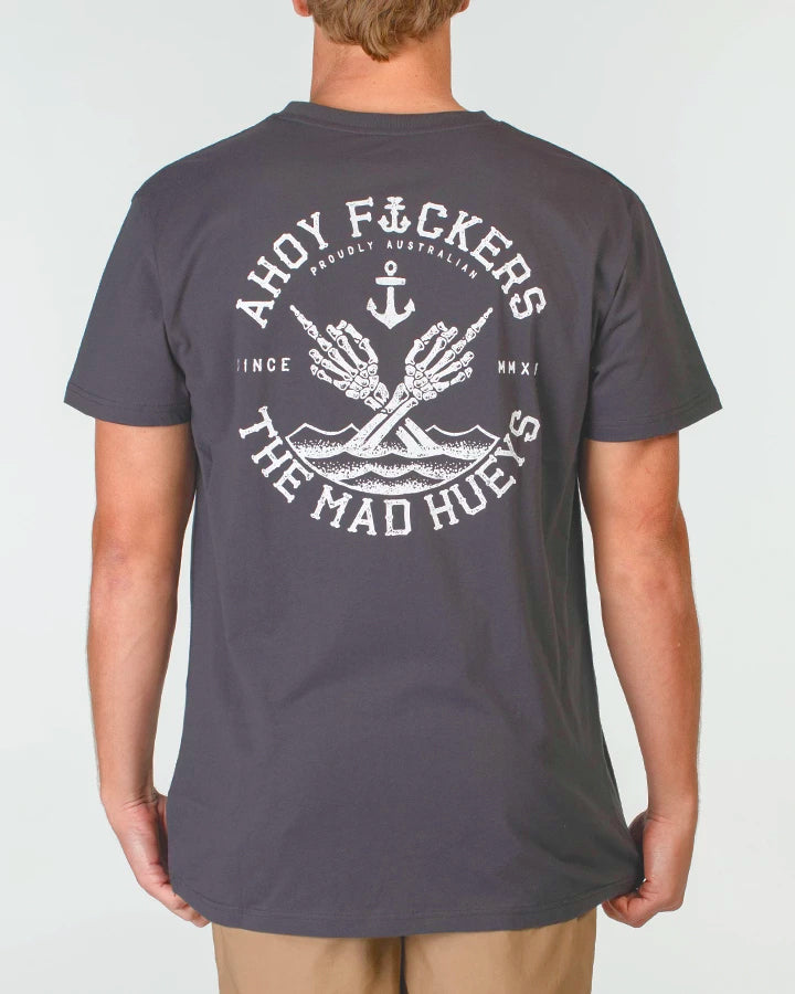AHOY F*CKERS DOUBLE SHORT SLEEVE TEE - ALMOST BLACK