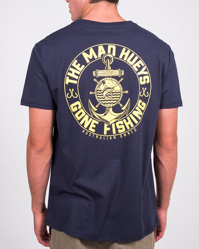 GONE FISHING SS TEE - NAVY
