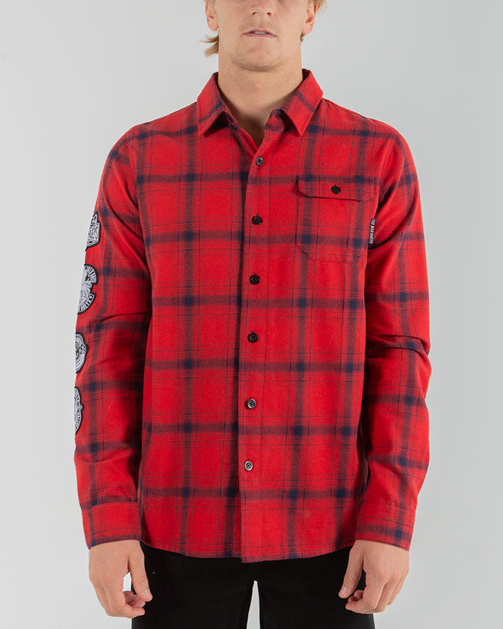 CROWDED FLANNEL LONG SLEEVE SHIRT - RED