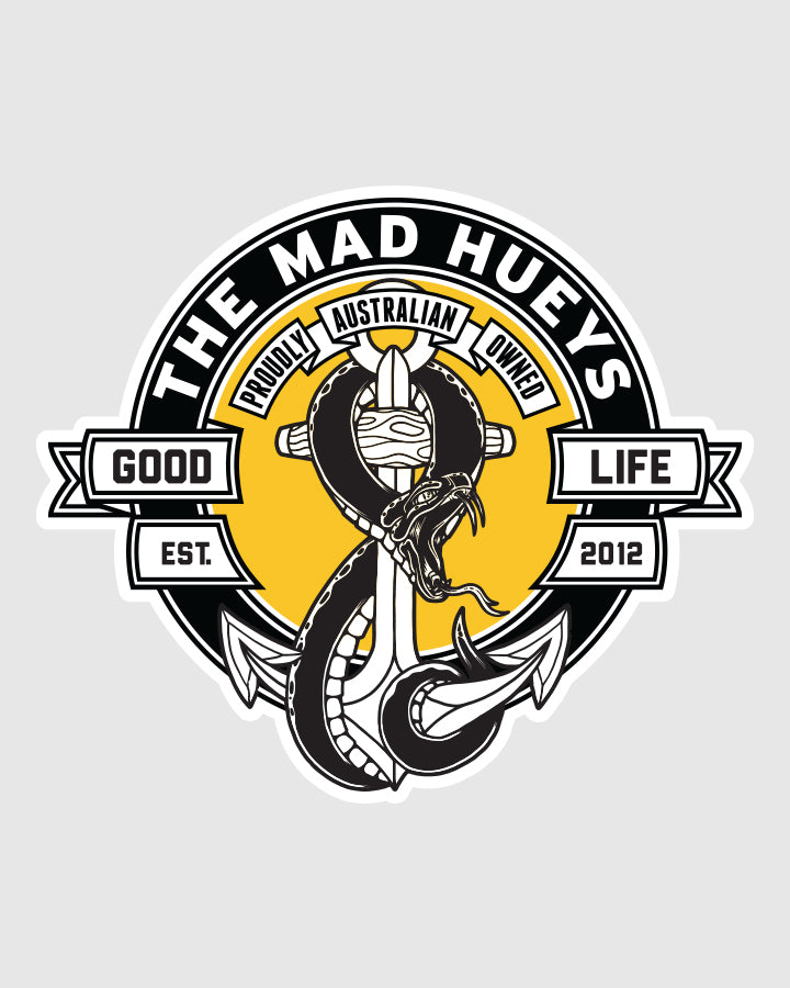SNAKES AND ANCHORS STICKER - BLACK/YELLOW