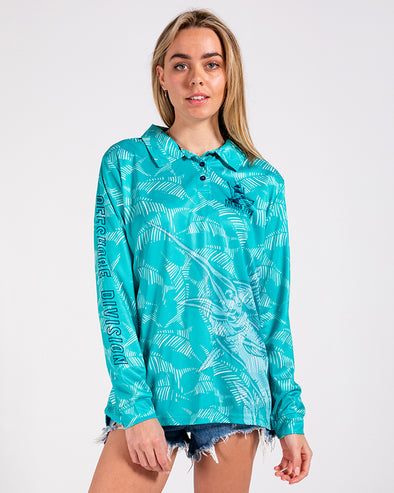 WOMENS MARLIN CAMO UV LS FISHING JERSEY