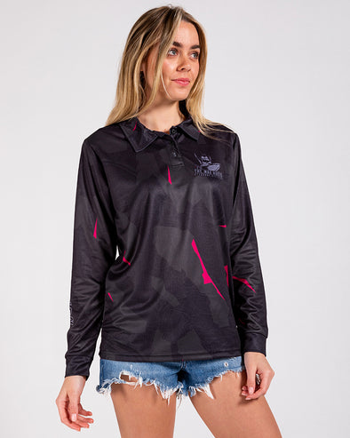 WOMENS OFFSHORE DIVISION CAMO UV LS FISHING JERSEY