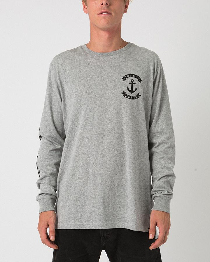 ANCHOR LONG SLEEVE TEE GREY MARLE