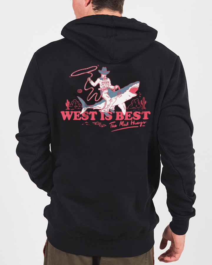 WEST IS BEST PULLOVER HOOD - BLACK