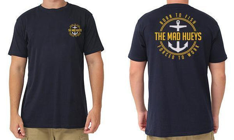 BORN TO FISH TEE NAVY/GOLD