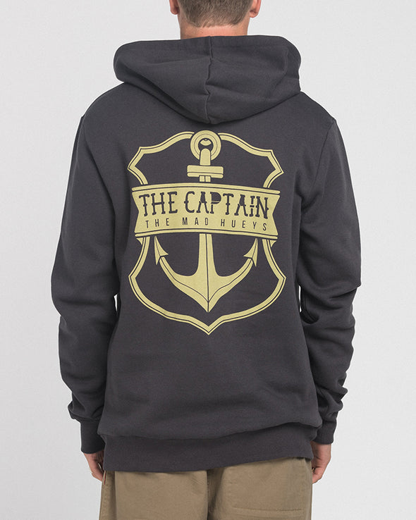 CAPTAIN CASTAWAY ZIP THRU HOOD - ALMOST BLACK