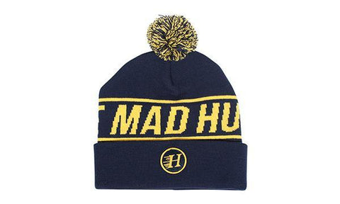 FLYING H POM POM BEANIE NAVY