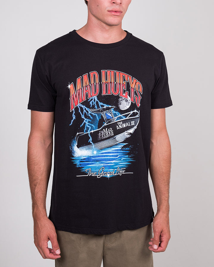HUEY AT THE MOON SS TEE - BLACK