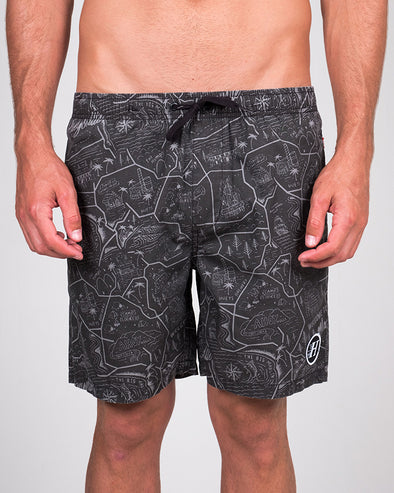"HUEYSVILLE POOLSHORT 18"" - BLACK"
