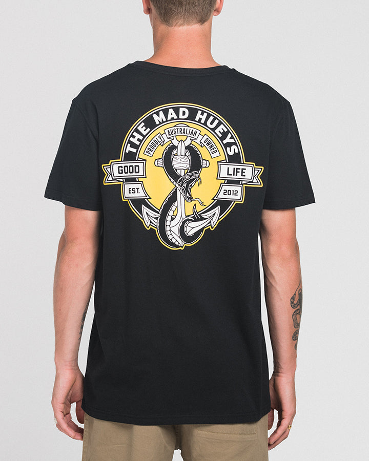 SNAKES AND ANCHORS SS TEE - BLACK