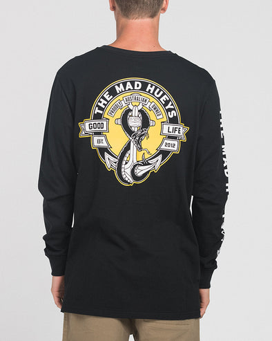 SNAKES AND ANCHORS LONG SLEEVE TEE - BLACK