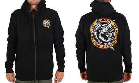 THE GOOD CATCH ZIP THRU HOOD BLACK