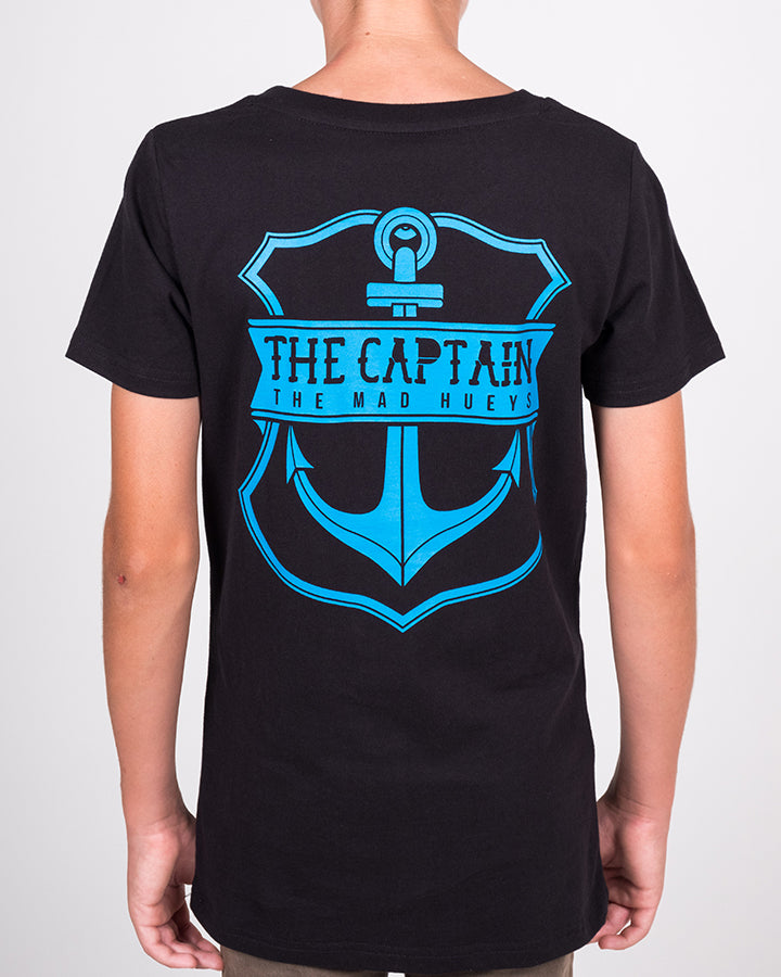 YOUTH CAPTAIN SS TEE - BLACK/BLUE