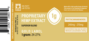 Proprietary Hemp Extract – Gold Label CBD Oil Concentrate (250mg, 750mg, 2500mg)
