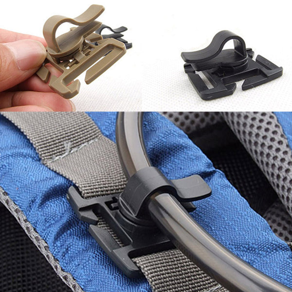 2PCS EDC Drink Tube Clip Gear Water Pipe Hose Clamp Backpack Molle Carabiner Tactical Buckle Outdoor Camping Hike Accessories