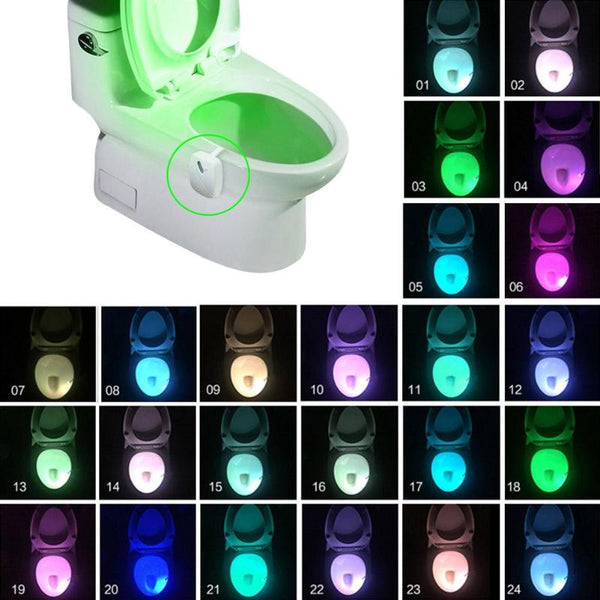 Bathroom Toilet Nightlight LED Body Motion Activated On/Off Seat Sensor Lamp 8/24Colors  PIR Toilet Night Light lamp