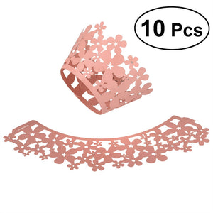 10Pcs Hollow Out Pink Shimmering Design Cupcake Wrappers Decor Wedding Birthday Party Baby Shower Wrap