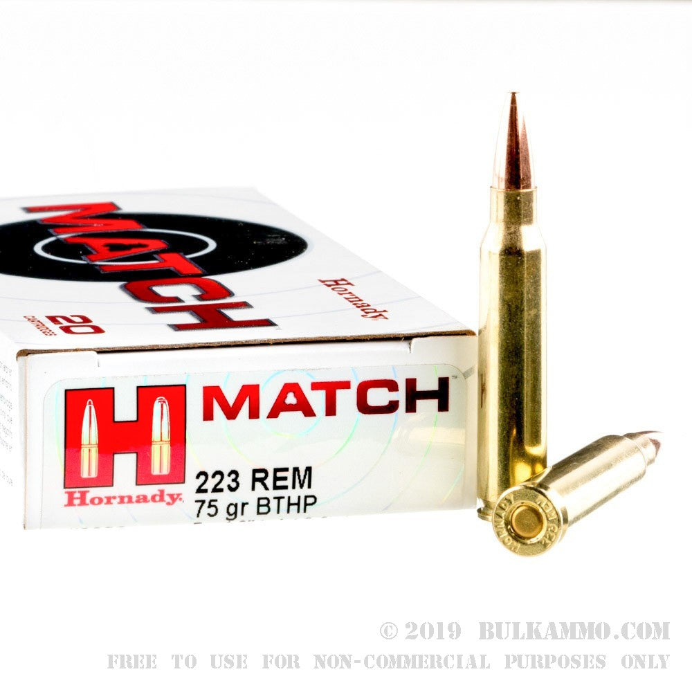 Hornady .223 75gr Boat Tail Hollow Point Match
