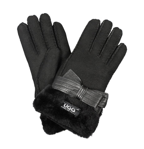 UGG LADIES SHEEPSKIN RIBBON GLOVES