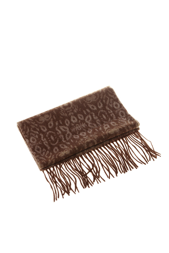 CASHMERE AND WOOL SCARF- CHOCOLATE/TAN