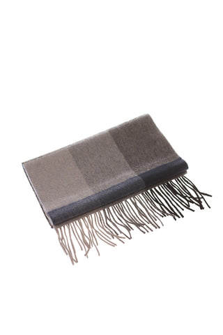 CASHMERE AND WOOL SCARF - BLUE/GREY/BLACK