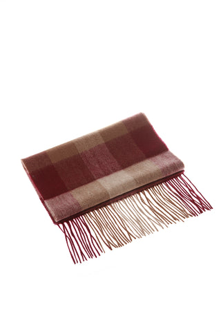 CASHMERE AND WOOL SCARF - MAROON CHECK
