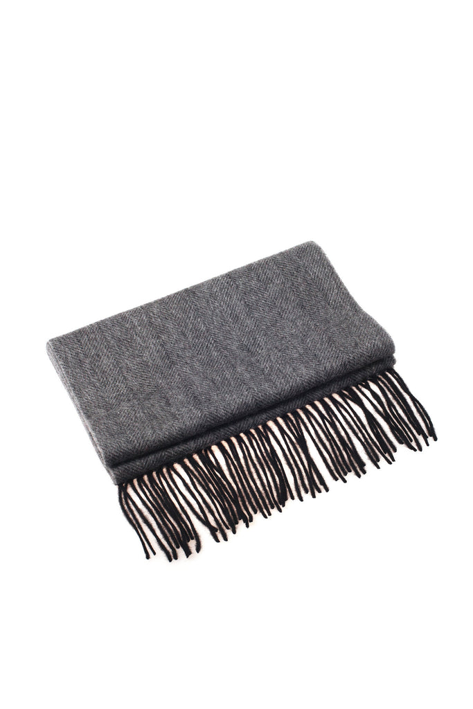 CASHMERE AND WOOL SCARF - GREY