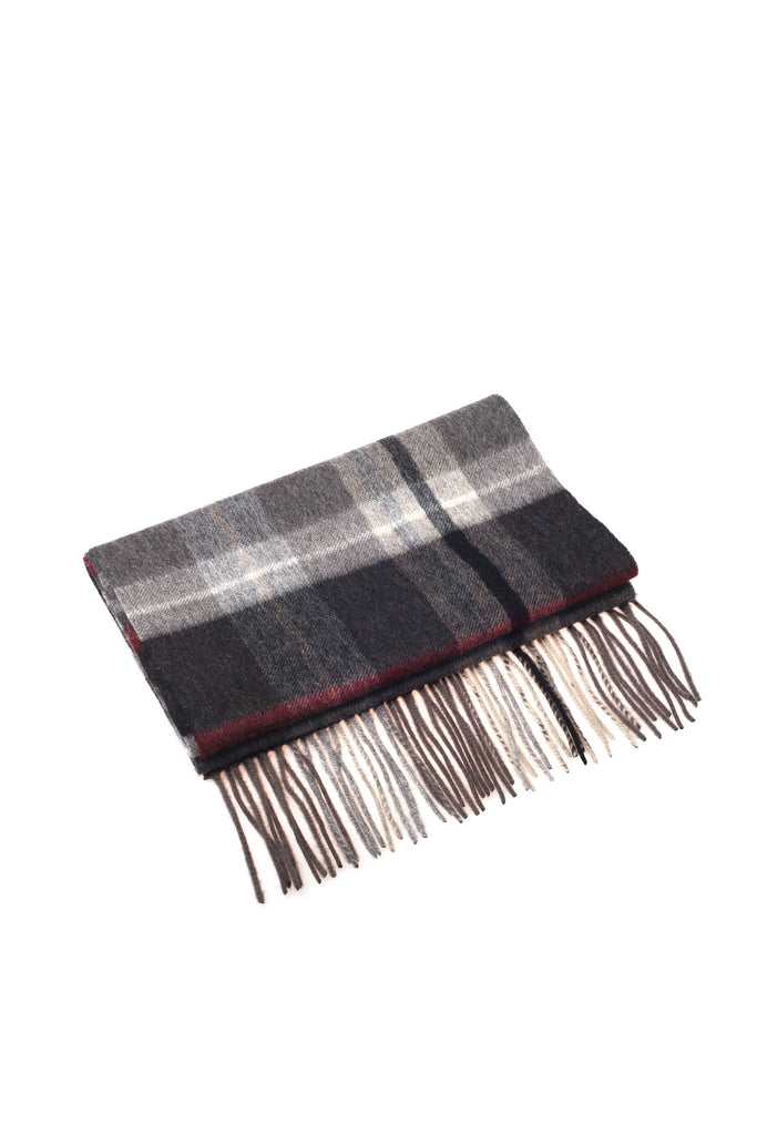 CASHMERE AND WOOL SCARF - GREY/CAMEL/CHECK