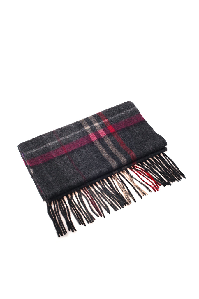 CASHMERE SCARF - CHARCOAL/ROSE CHECK