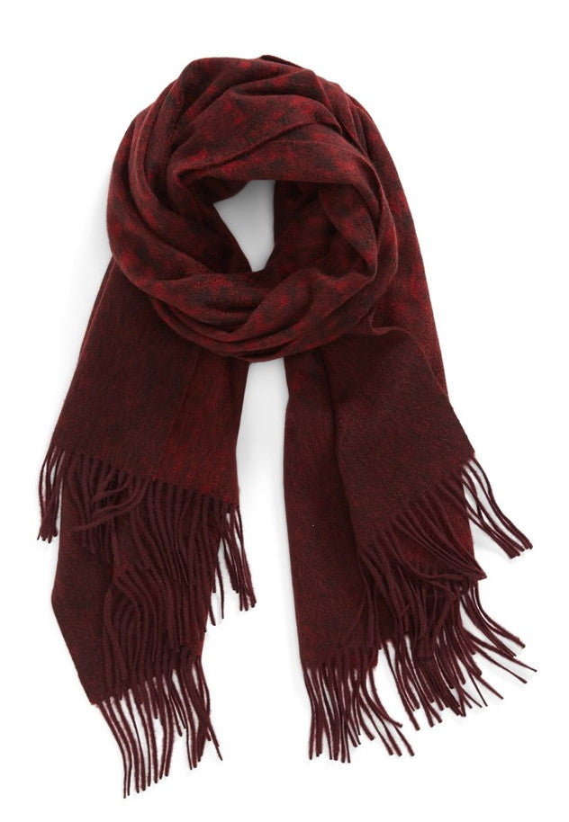 CASHMERE/MERINO WOOL WRAP - RED/BROWN