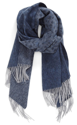 CASHMERE/MERINO WRAP - NAVY/GREY