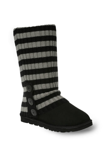 UGG CARDY SOCKS - BLACK/GREY (THICK STRIPE)