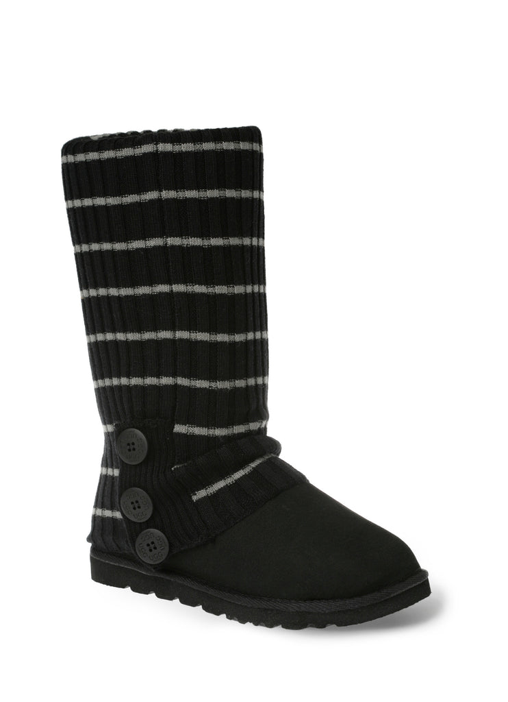 UGG CARDY SOCKS - BLACK/GREY (THIN STRIPE)