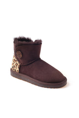 UGG MINI BUTTON BOOTS WITH LEOPARD PRINT AND TPR SOLE