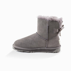 'New generation' ugg ladies classic mini bailey bow boots 1 ribbon boot - grey