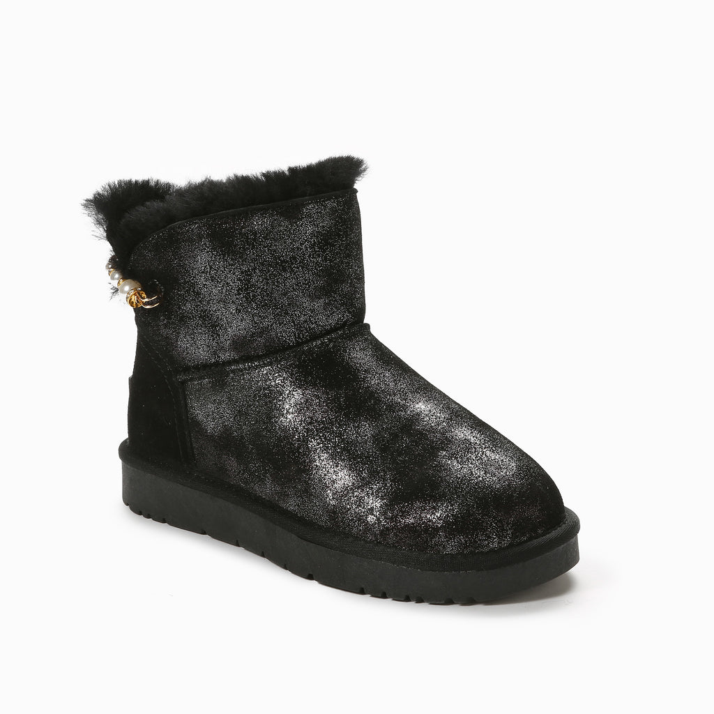 Thea pearl pin boots - black