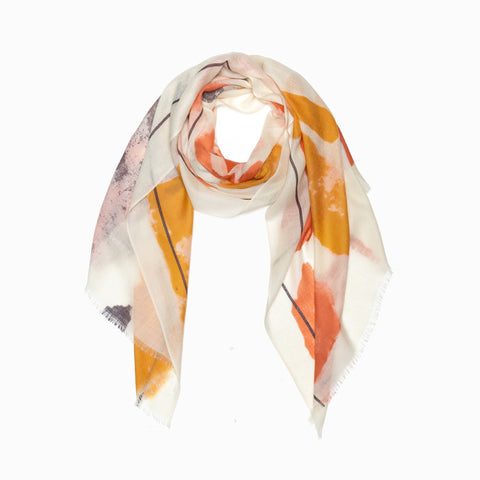 100% WOOL PRINTED SCARF - ORANGE/GREY