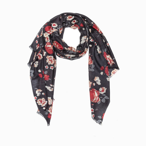 100% WOOL PRINTED SCARF - BLACK/FLORAL