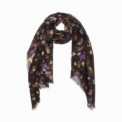 100% WOOL PRINTED SCARF - PURPLE/MAPLE LEAVES/FLORAL