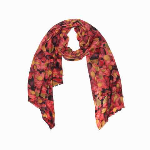 100% WOOL PRINTED SCARF - SAFFRON/LEAVES/FLORAL
