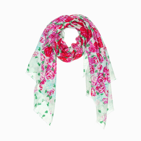 100% WOOL PRINTED SCARF - ROSY ROSE FLOWER