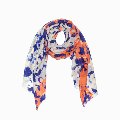 100% WOOL PRINTED SCARF - WHITE/BLUE/ORANGE