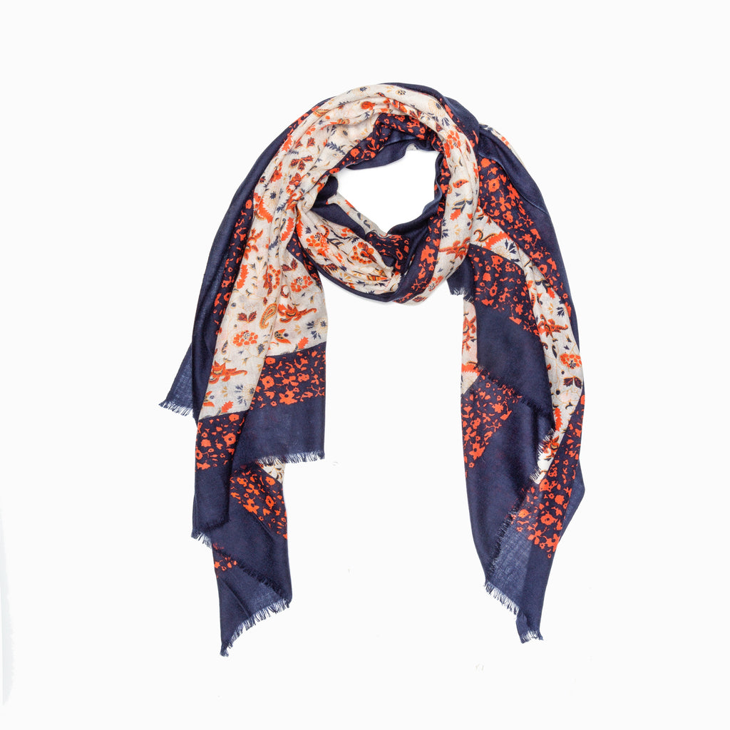 100% WOOL PRINTED SCARF - ORANGE FLORAL