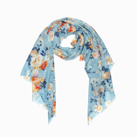 100% WOOL PRINTED SCARF - DUSTY BLUE/ORANGE FLORAL