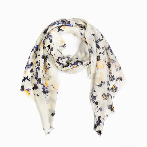100% WOOL PRINTED SCARF - SAND/BLACK/BLUE FLORAL