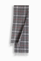 100% WOOL SCARF - GREY CHECK