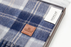 100% WOOL SCARF - NAVY/IVORY CHECK